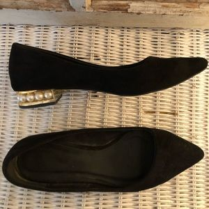Qupid Black Suede with Pearl Heels, Size 6.5